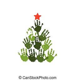 וקטור, חג המולד, ילדים, משפחה, 10, art., star., עץ, הפרד, דוגמה, האנדפרינט, וואטארכולור, הכנסה לכל מניה, crafts., כרטיס, handdrawn, לבן, אקרילי, ילדים, אדום, design.