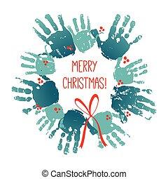 וקטור, חג המולד, ילדים, card., משפחה, 10, עטרה, הפרד, דוגמה, האנדפרינט, וואטארכולור, רקע., crafts., הכנסה לכל מניה, bow., handdrawn, לבן, אקרילי, ילדים, אדום, art.