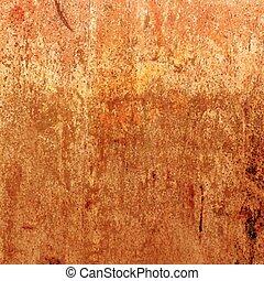 וקטור, חלוד, גראנג, texture., תפוז, רקע.