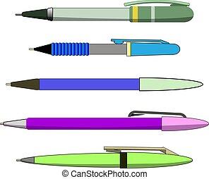 וקטור, מציאותי, לבן, לכתוב, קבע, עטים, הפרד