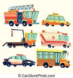 וקטור, עירוני, עיר, שרותים, חירום, משטרה, פיראטראק, אמבולנס, מונית, אוטובוס של בית הספר, evacuator, ב, ציור היתולי, style.