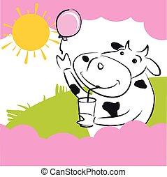 וקטור, פרה, עם, ורוד, balloon