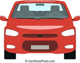וקטור, ציור היתולי, מכונית אדומה, השקפה של חזית