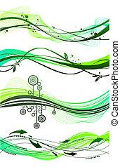 וקטור, קבע, של, שונה, ירוק, גלים