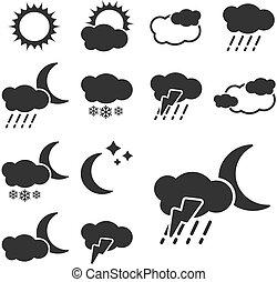 וקטור, קבע, של, שחור, מזג אויר, סמלים, -, חתום, איקון