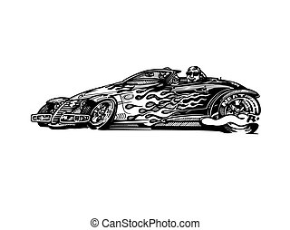 וקטור, ראטרו, הוטרוד, מכונית, כליפארט, ציור היתולי, illustration., קלאסי, מכונית של בציר
