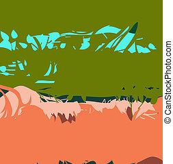 וקטור, רקע, של, ירוק, ו, orange.