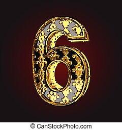 וקטור, שחור, מכתב, זהב, 6