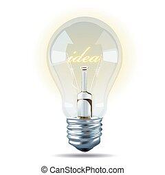 וקטור, של, נורת חשמל, אור, רעיון