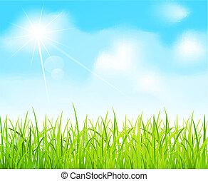 וקטור, שמיים כחולים, ו, דשא ירוק