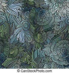 וקטור, תבנית, תקציר, פרחים, seamless