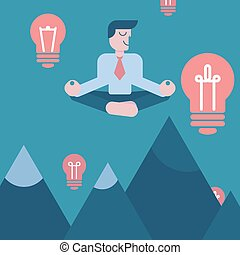 וקטור, concepts., עסק, שמיים, להרהר, רעיון, מסביב, נורות חשמל, דוגמה, להסתכל, אור, הרים, מעל, איש עסקים, peace.