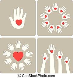 וקטור, hearts., illustration., ידיים