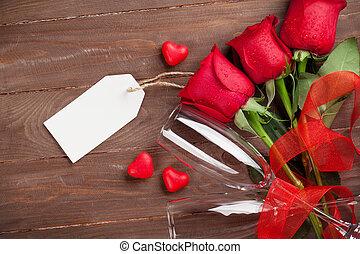 ורדים, ולנטיינים, שמפנייה, אדום, יום