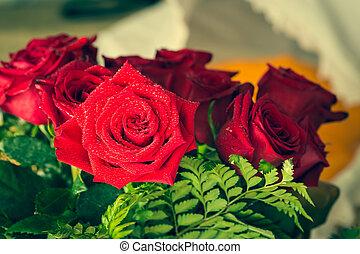 ורדים, מעל, יום של ולנטיינים, אדום