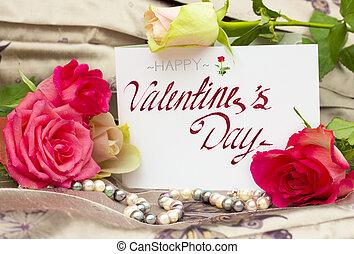 ורדים, עם, פנינים, סיב, ו, טופס, כרטיס