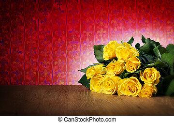 ורדים, צהוב, צרור