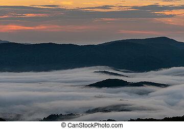 ורוד, הר, עננים, אי, שמיים, בוקר, דרך, אור