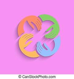 ורוד, וקטור, שיתוף פעולה, רקע, ידיים, לוגו, template.