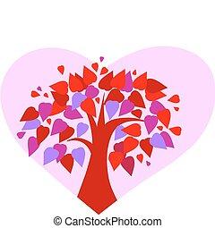 ורוד, לב, אהוב, רקע, עץ