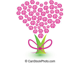 ורוד, לב, עץ, ורדים, לוגו, סרט