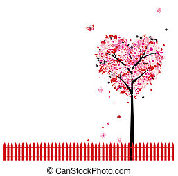 ורוד, פרחוני, עץ, צורה של לב, ל, שלך, עצב
