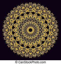 זהב, בציר, pattern., רקע., שחור, אתני, מנדאלה