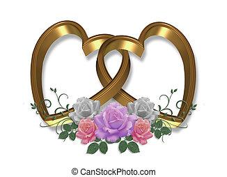 זהב, לבבות, ו, ורדים, ולנטיין