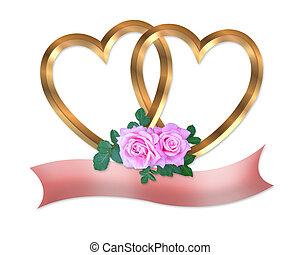 זהב, לבבות, ו, ורדים ורודים