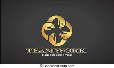 זהב, צבע, וקטור, שיתוף פעולה, ידיים, לוגו, template.