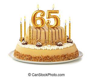 זהוב, חגיגי, נרות, -, מספר, 65, עוגה
