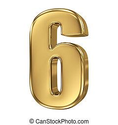 זהוב, -, מספר, אוסף, 6, 3d