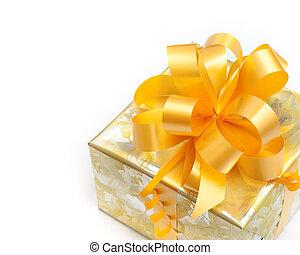 זהוב, מתנה, צהוב, כרע, נייר, רקע, לבן, ארוז, נחמד