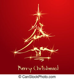 זהוב, עץ של חג ההמולד, ב, אדום, רקע., רשום