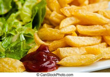 זהוב, be, תפוחי אדמה, יום שישי, צרפתי, אכל, מוכן