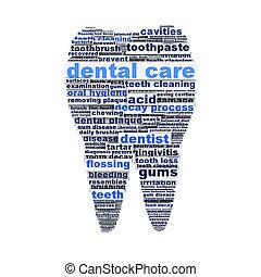 זהירות של השיניים, סמל, עצב, כפי, a, שן