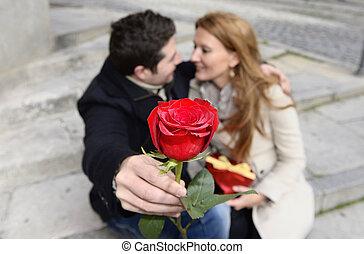 זוג רומנטי, אהוב, לחגוג, יום שנה