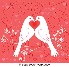זוג, lovebirds., יום, ולנטיין