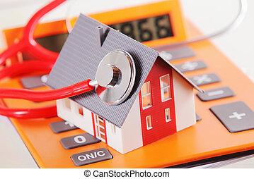 זוטה, בית, עם, סטטוסקופ, ב, a, מחשב כיס