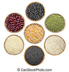 זרעים, שעועיות, שחור, קבע, ירוק אדום, דגנים