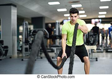 חבלים, gym., כושר גופני, לחם, התאמן, איש