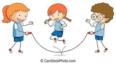 חבל, שחק, לקפוץ, ילדים