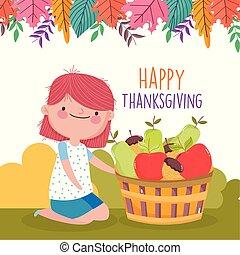חגיגה, ילדה, חמוד, סל, הודיה, פירות, שמח, התמלא, חנה