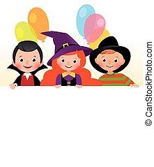 חגיגי, costumes., פוסטר, ידידים, הלוווין, שלושה, דוגמה, וקטור, מפלגה., ציור היתולי