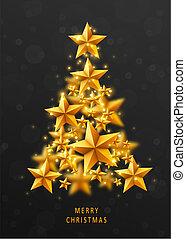 חג המולד, ו, ראשי שנה, רקע אדום, עם, עץ של חג ההמולד, עשה, של, זהוב, stars.