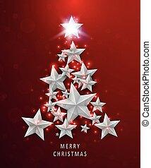 חג המולד, ו, ראשי שנה, רקע אדום, עם, עץ של חג ההמולד, עשה, של, stars.