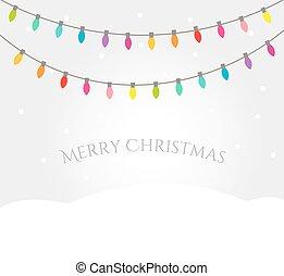 חג המולד, נוף של חורף, עם, צבעוני, אורות, חוטים