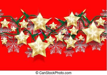 חג המולד, seamless, תבנית אופקית, של, כוכבים, פתיתות שלג, ו, גירלנדות, עם, אור, bulbs., מואר, ראשי שנה, גבול, ל, design.