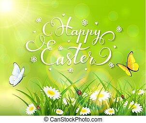 חג הפסחה, תימה, עם, דשא, ו, פרחים, ב, רקע ירוק