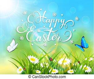חג הפסחה, תימה, עם, דשא, ו, פרחים, ב, רקע כחול